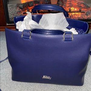 Blue Leather Longchamp tote bag